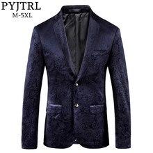 PYJTRL Männlichen Retro Vintage Navy Blau Floral Print Casual Samt Blazer Homme Design Casacas Männer Mantel Slim Fit Anzug Jacke