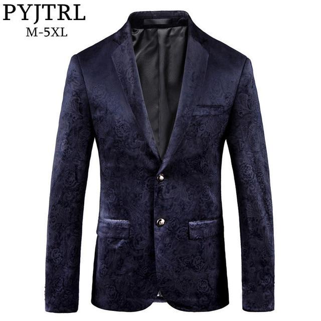 PYJTRL Male Retro Vintage Navy Blue Floral Print Casual Velvet Blazer Homme Design Casacas Men Coat Slim Fit Suit Jacket