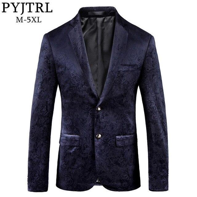 PYJTRL ชาย Retro VINTAGE สีน้ำเงินลายดอกไม้พิมพ์สบายๆกำมะหยี่ Blazer Homme ออกแบบ Casacas เสื้อผู้ชาย SLIM FIT สูทแจ็คเก็ต