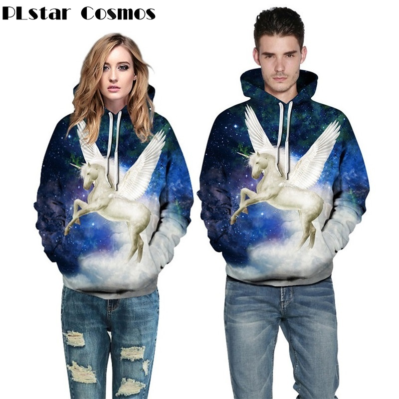 PLstar Cosmos 3D Cartoon Pegasus Hoodies Men/Women Hoodie Sweatshirts Unicorn Angel Wing Horse Printed Pullovers Streetwear