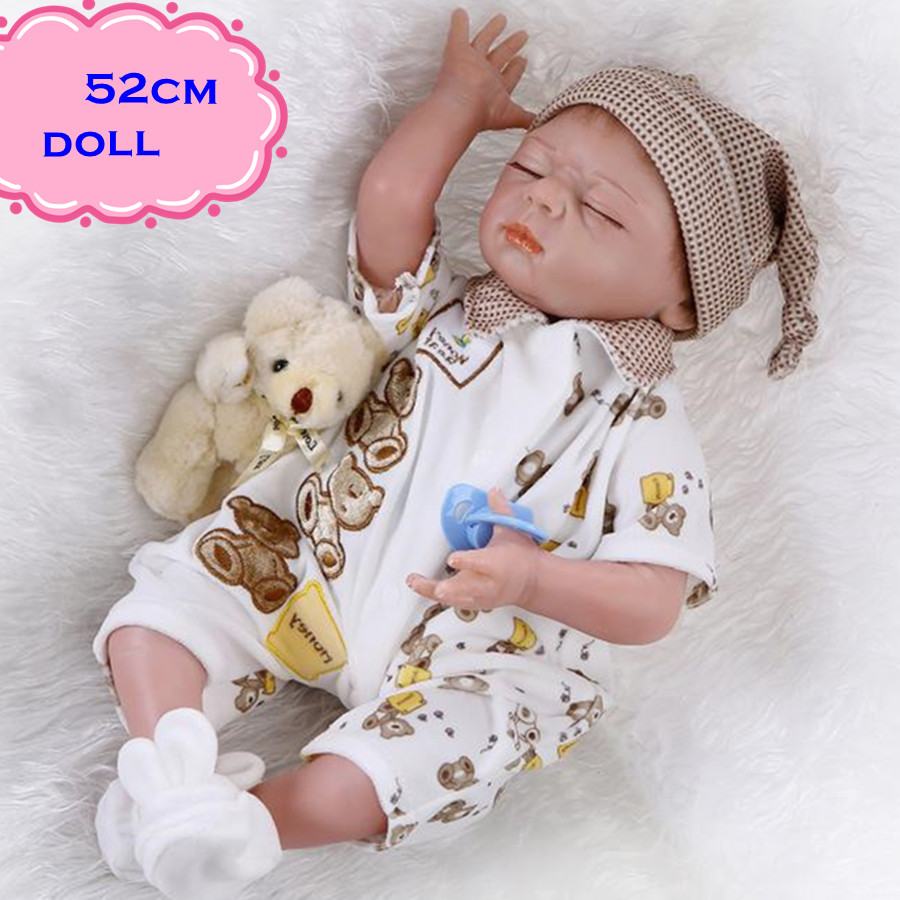 Hot Sale And Popular Sleeping NPK Silicone Reborn Baby Dolls About 52cm Lifelike Baby Dolls Newborn For Child Gift DIY Brinquedo free shipping hot sale real silicon baby dolls 55cm 22inch npk brand lifelike lovely reborn dolls babies toys for children gift