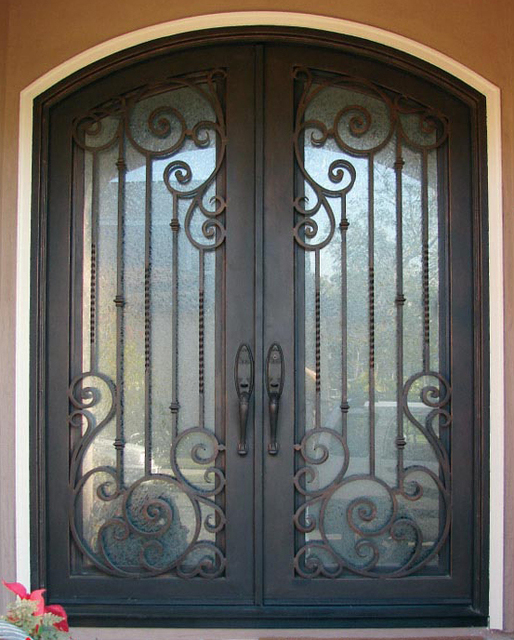 Ornamental Iron Entry Doors Etn 1020 With Glass Door And Free