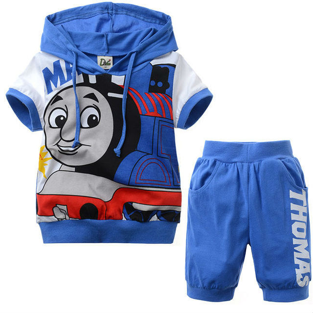 Free shipping 6 sets/lot, 2013 summer sports suits THomas children suit Boys' suit hooded short sleeve Tshirt + pants Sportwear