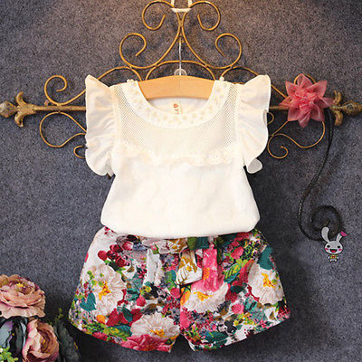 2016 Toddler Baby Kids Baby Girls Outfits Clothes Flying Sleeve T-shirt Tops+Floral Flower Shorts 2PCS Set 3-7Y