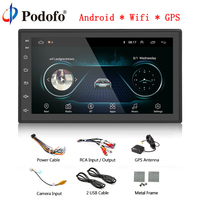 Podofo Android Car Radio GPS Bluetooth MP5 Multimedia player 2 Din 7'' FM WIFI AM Auto Audio Universal Backup Monitor Autoradio