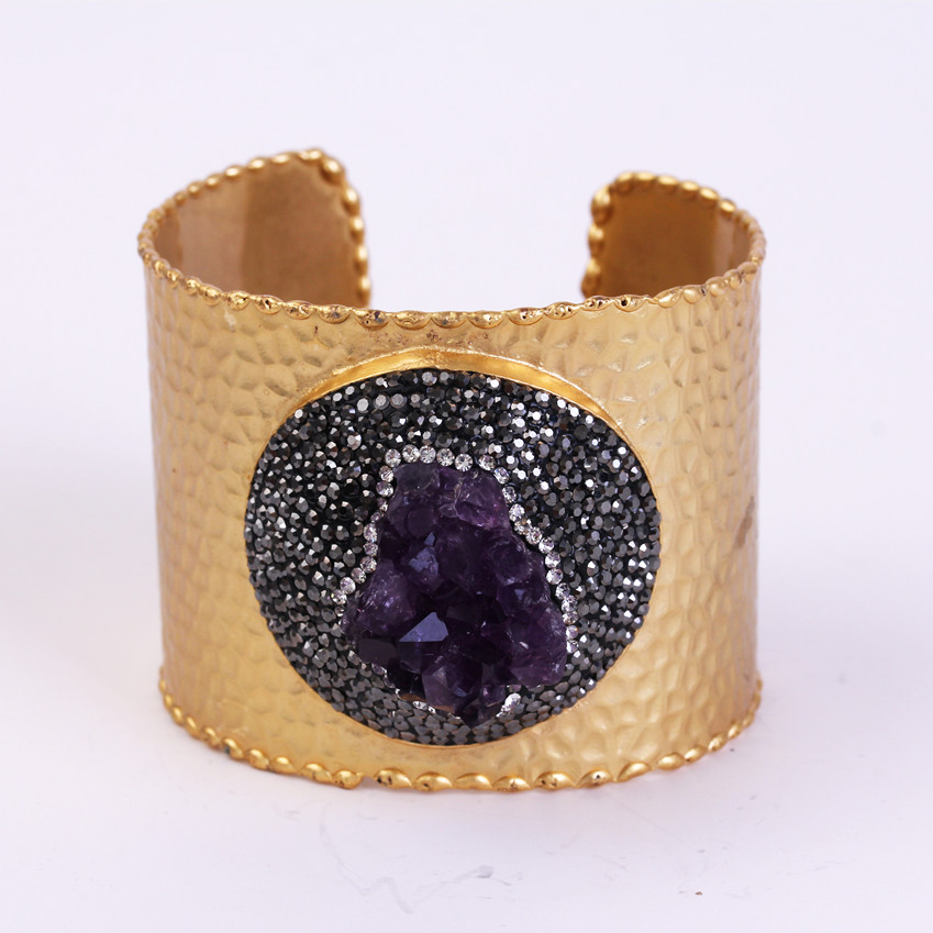 charms golden bangle pave rough purple crystal amethysts stone rhinestone adjustable open big hemmered bangle cuff for women open cuff bangle