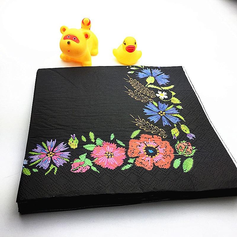 Ynaayu 20pcs / set prtički črni cvetlični papirnati prtiček 33 * - Prazniki in zabave
