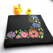 Ynaayu 20ks / set Ubrousky Černý květinový ročník papírový ubrousky 33 * 33cm jednorázové stolní nádobí 100% přírodní dřevo pro party doplňky