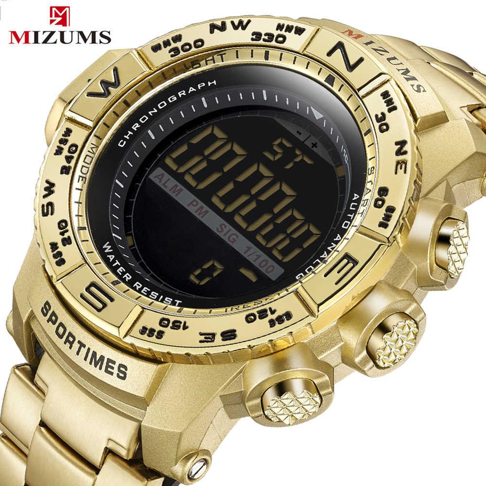 Luxury Brand Mens Sport Watch Gold Full Steel Digital Watches Men Date  Waterproof Military Clock Man 1ff10593d1
