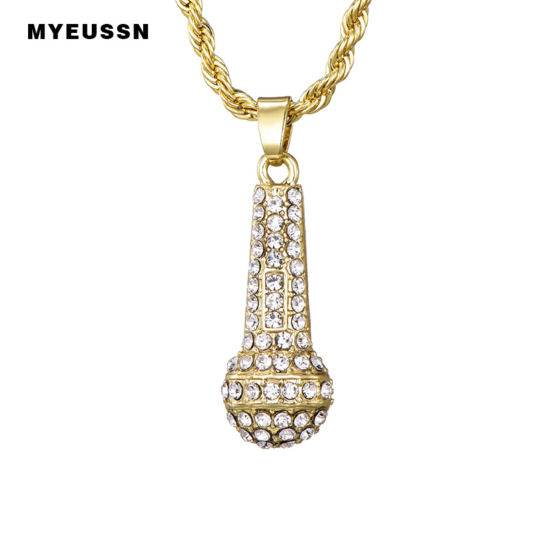Ice Out Chain Microphone Men Women Hip Hop Jewelry Gold Silver Color Music  Stereoscopic Pendant   Necklace Best Friend wholesale 4c9b2ee60