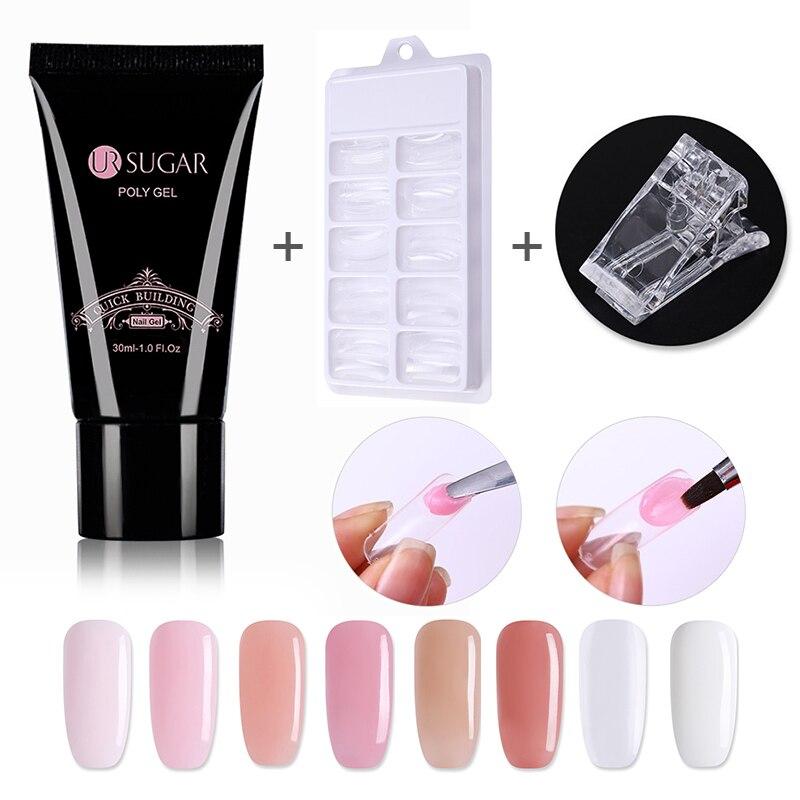 UR Sugar Nails Kit 30ml UV Gel Nails Tips Nails Build Extending Crystal Jelly Gum Poly Gel With 20pcs Quick Fake Nails Mold Tips
