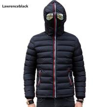 Lawrenceblack Winter Jackets Men Parkas with Glasses Padded Hooded Coa
