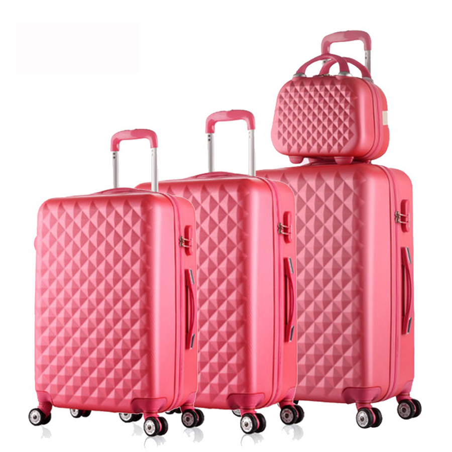 122024284Piece Diamond lines Trolley suitcase/travell case luggage/Pull Rod trunk rolling spinner wheels/ABS boarding bag 20 24 inch braccialini harajuku fairy girl trolley suitcase rolling spinner wheels pull rod luggage traveller case boarding bag