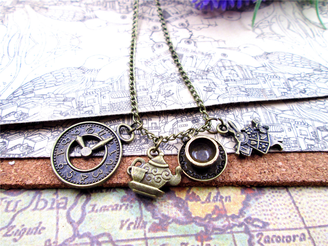 fashion   Antique bronze  Alice in Wonderland  necklace  Teapot with teacup Clock rabbit  charm pendant necklace