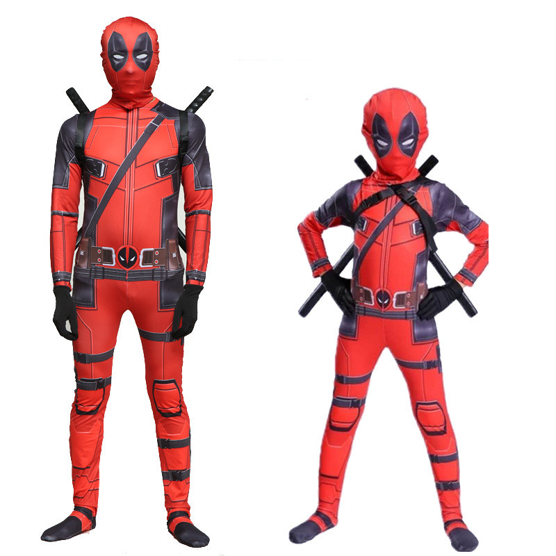 Halloween Role Playing Adult Children Marvel Dead COS Clothing Deadpool Hooded Tights Onesies Full Set Of Clothes
