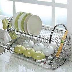 OUNONA naczynie ze stali nierdzewnej miski spinacze do prania dwuwarstwowe talerze pałeczki ociekacz ze stojakiem sztućce suszarka tacka Organizer