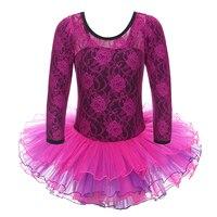 Whole 4 Pcs Lots New Ballet Dresses Tutus 3 8 Years Leotard Lace Cotton Long Sleeve