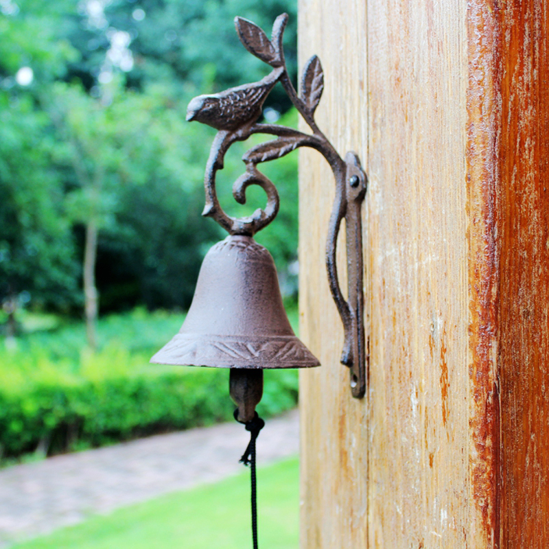 European Vintage Rustic Bird on Branch Design Cast Iron Wall Mounted Hand Cranking Door Bell-in Wind Chimes & Hanging Decorations from Home & Garden    3