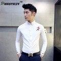 MAUCHELY 2017 hombres de la Primavera de Corea Del Bordado Camisa Bordada Camisa Delgada Marea Hombres de Moda de Estilo Retro Camisa Camiseta Masculina