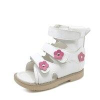 Ортопедические сандалии с высоким берцем для маленьких девочек  белые сандалии из натуральной кожи с красивым цветочным декором  весенне-л...