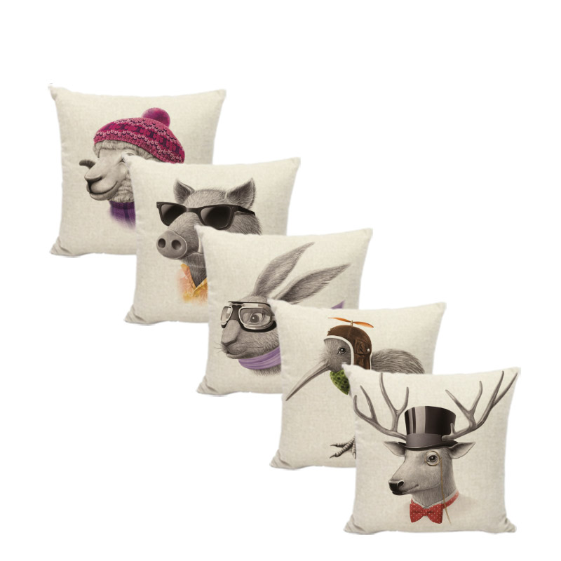 Abstract Animal Cushion Cover Sheep Rabbit Hat 17 Inch Bird Glasses Bow Tie Home Couch Yard Car Seat Decor Gift Throw Pillowcase