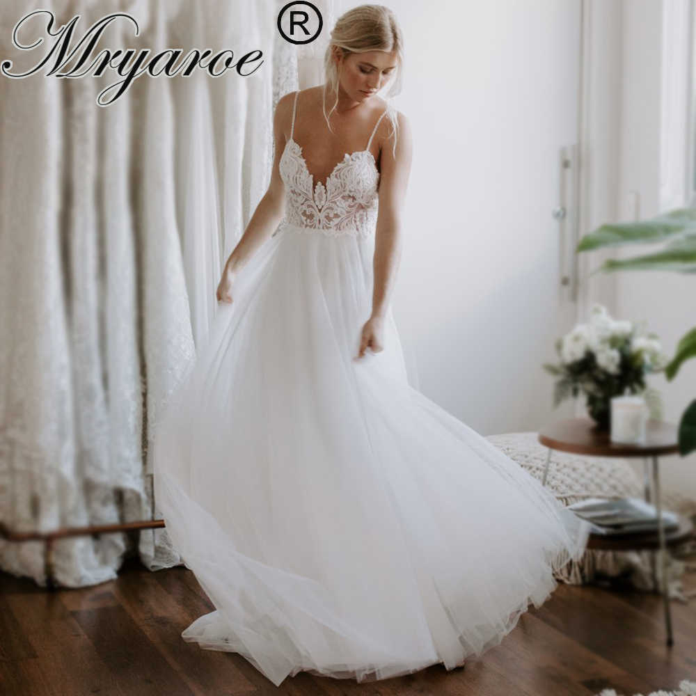 Mryarce Exclusive Lace Beading Flowing Tulle A Line Wedding Dress