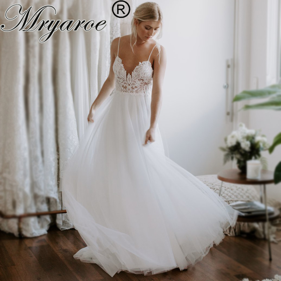 Mryarce Exclusive Lace Beading Flowing Tulle A Line Wedding Dress Open Back Summer Beach Elegant Bridal Gowns Wedding Dresses Aliexpress
