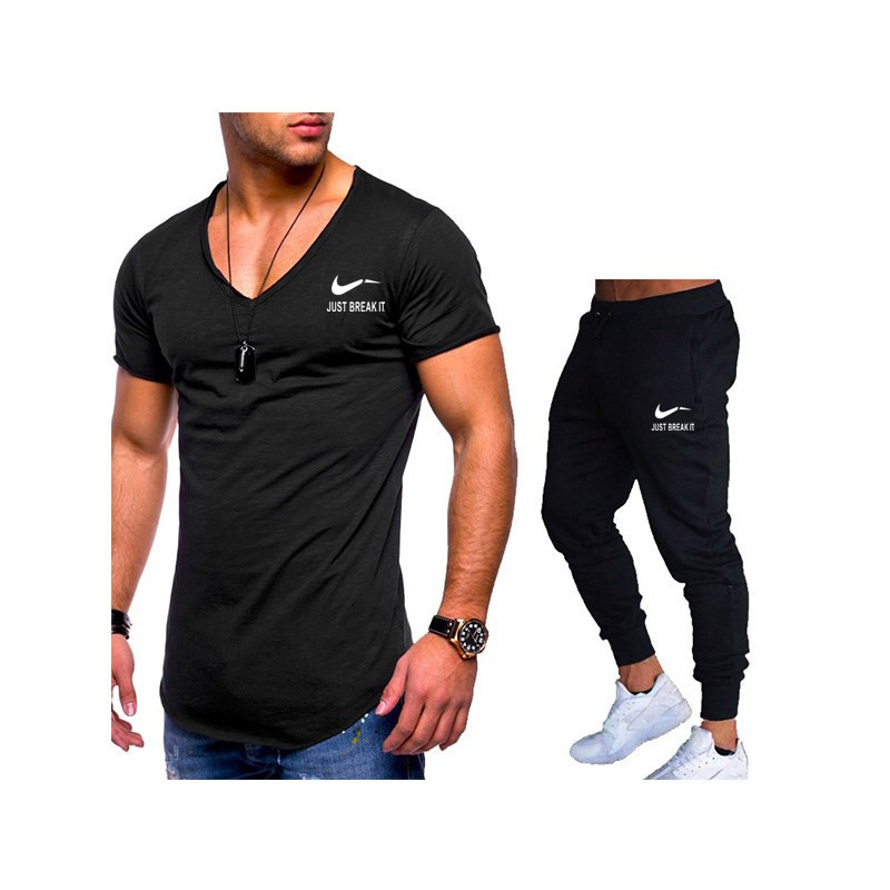Free Shipping Summer Hot Sale Men's Sets T Shirts+Pants Two Pieces Sets Casual Tracksuit Male Tshirt Gyms Fitness Trousers Men