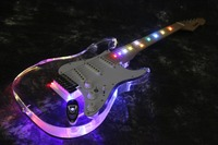 Acrylic Tele Body 7 Colour LED Light Fretboard ST Electric Guitar Guitarra