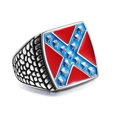 eejart Newest Mens Biker Ring 316L Stainless Steel Gothic Style American Flag Ring White Supremacy Signet Ring jz037