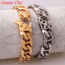 Granny Chic 14mm Silver or Gold Color 316L Stainless Steel Curb Cuban Link Bracelet Mens Chain Boys Fashion Wholesale Jewelry