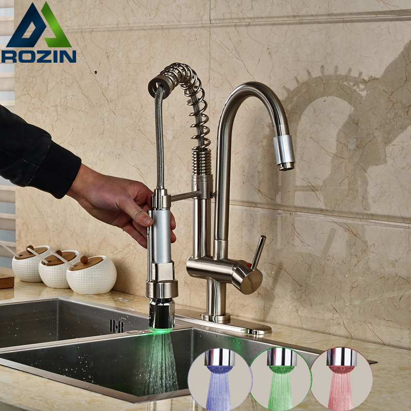 RGB Color Changing Kitchen Sink Mixers Deck Mount One Handle Faucet LED Light Kitchen Crane Brushed