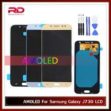 AMOLED لسامسونج J7 برو 2017 J730 شاشة الكريستال السائل لسامسونج J7 2017 J730F شاشة LCD مجموعة رقمنة اللمس مع الإطار