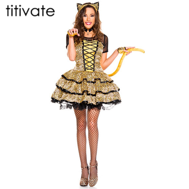 titivate hot funny tiger cat cosplay animal costume women halloween carnival party game outfits sexy adult leopard costumes - Halloween Fashion Games