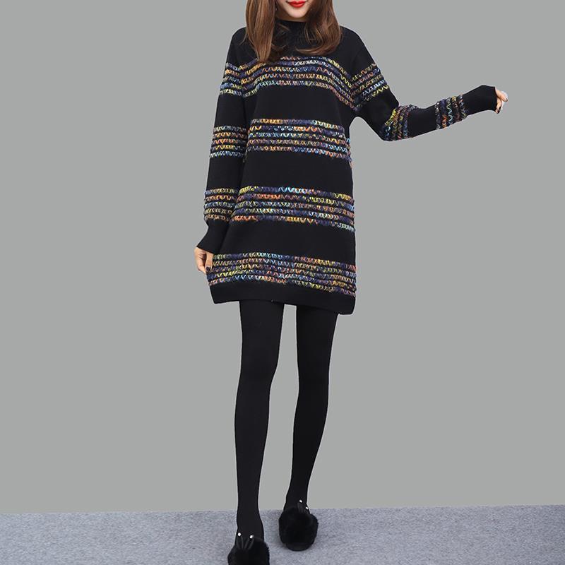 Femme Sexy Tricoté Une Longues Model Haute Coréen Rayé À A Lâche De Taille Manches Ligne Elbise Pull Femmes Robe Uzun Automne Lunga qqWHgrER