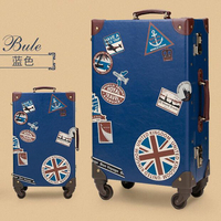 Japan Style Vintage luggage suitcase Creative 21 universal wheels trolley luggage for teenagers 24inch travel bag hard case