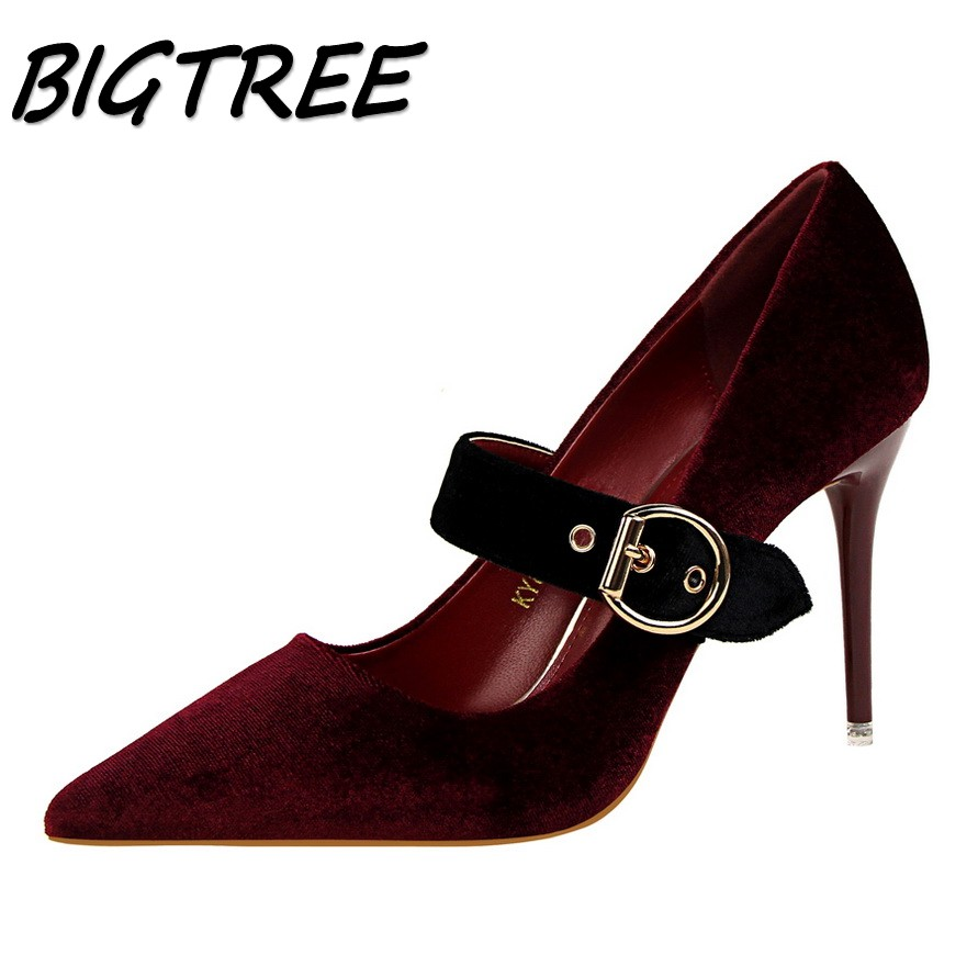 BIGTREE summer women Pointed Toe High heel shoes woman pumps ladies Fashion party Belt Buckle stilettos shallow shoes size 34-39 new 2017 spring summer women shoes pointed toe high quality brand fashion womens flats ladies plus size 41 sweet flock t179