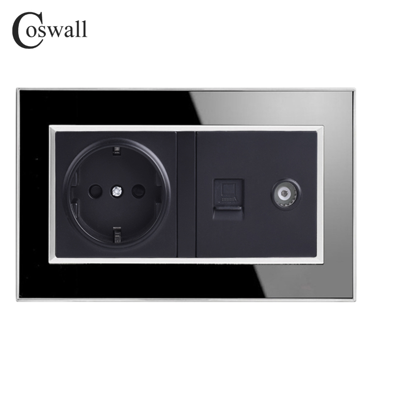COSWALL EU Standard Wall Socket + Female TV Jack With Internet Computer Data RJ45 CAT5E Connector Black Acrylic Panel