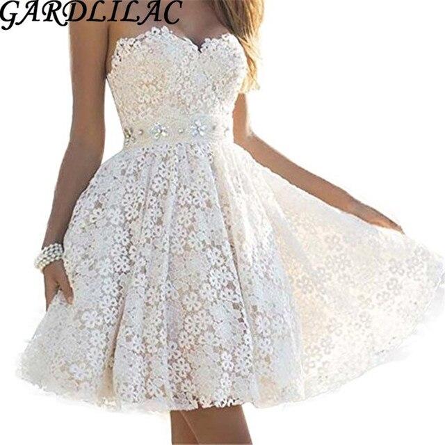 5824ca476122b Gardlilac vintage dentelle perles robe de mariée courte blanc ivoire robe  de mariée courte Sexy bretelles