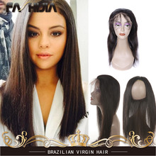 Pre Plucked 360 Lace Band Frontal Closure With Adjustable Straps Brazilian Virgin Hair Straight Natural Hairline With Baby Hair