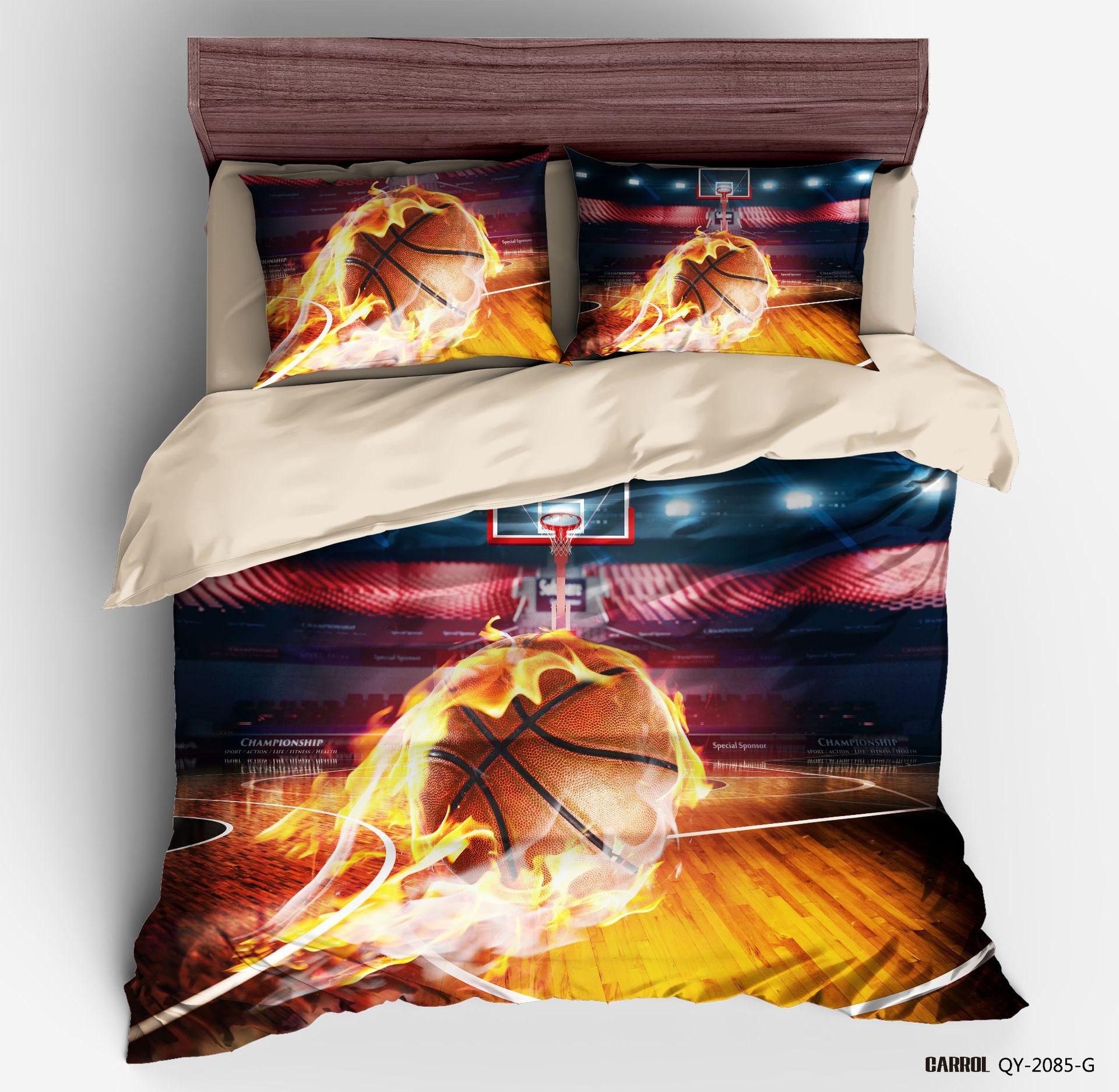 3D Digital Printing Football king size Bedding Set Soccer Ball fire Net Duvet Cover Sets 100% Microfiber comforter bedding sets
