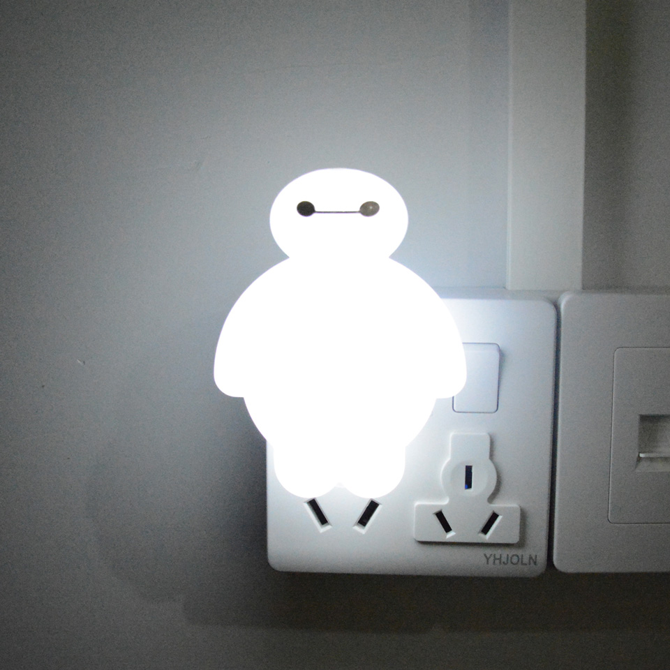 Cartoon Night Light Switch Baymax Led Lamp Eu Us Plug 220v Portable Creative Nightlight For Children Kids Baby Bedroom Bedside Night Light Cartoon Night Lightbaymax Led Aliexpress