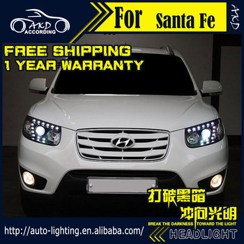 AKD Car Styling Head Lamp for Hyundai Santa Fe Headlights 2007-2012 New Santa LED Headlight DRL Signal H7 D2H Hid Bi Xenon Beam