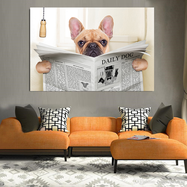 . US  3 59 10  OFF Funny Dog Animals Toilet Newspaper Bathroom Decoration  Kitchen Decor Pug Poster Nordic Bulldog Painting Wall Art Paint Cuadros in