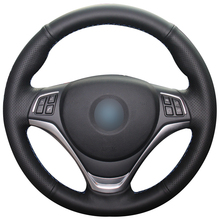 Hand sewing custom Black Leather Car Steering Wheel Cover for BMW X1 2014-2015