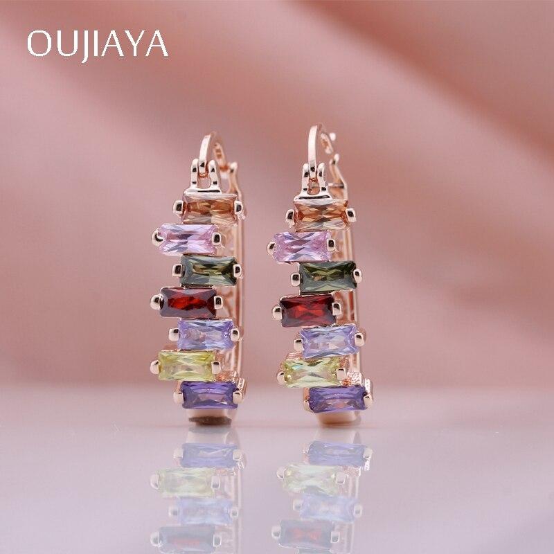 Pendientes ovalados de OUJIAYA especialmente 585 de color rosa dorado para mujer, Pendientes colgantes de zirconia Natural con gran irregularidad A186