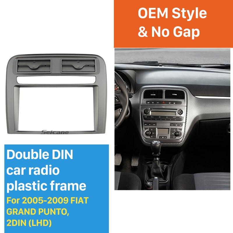 Seicane 2 DIN Car radio fascia Bezel Trim Kit Cover for 2005-2009 FIAT GRAND PUNTO (LHD) OEM Stereo Dash Install Panel Car Plate