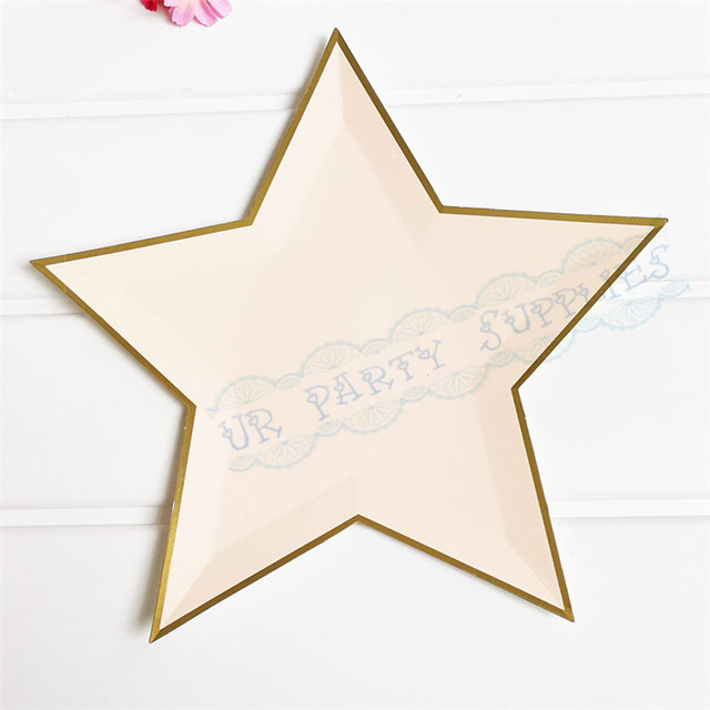 40pcs Modern and Trendy Star Shaped Paper Plates Pastel Pink Color Party Disposable Tableware Gold Foil : modern paper plates - pezcame.com