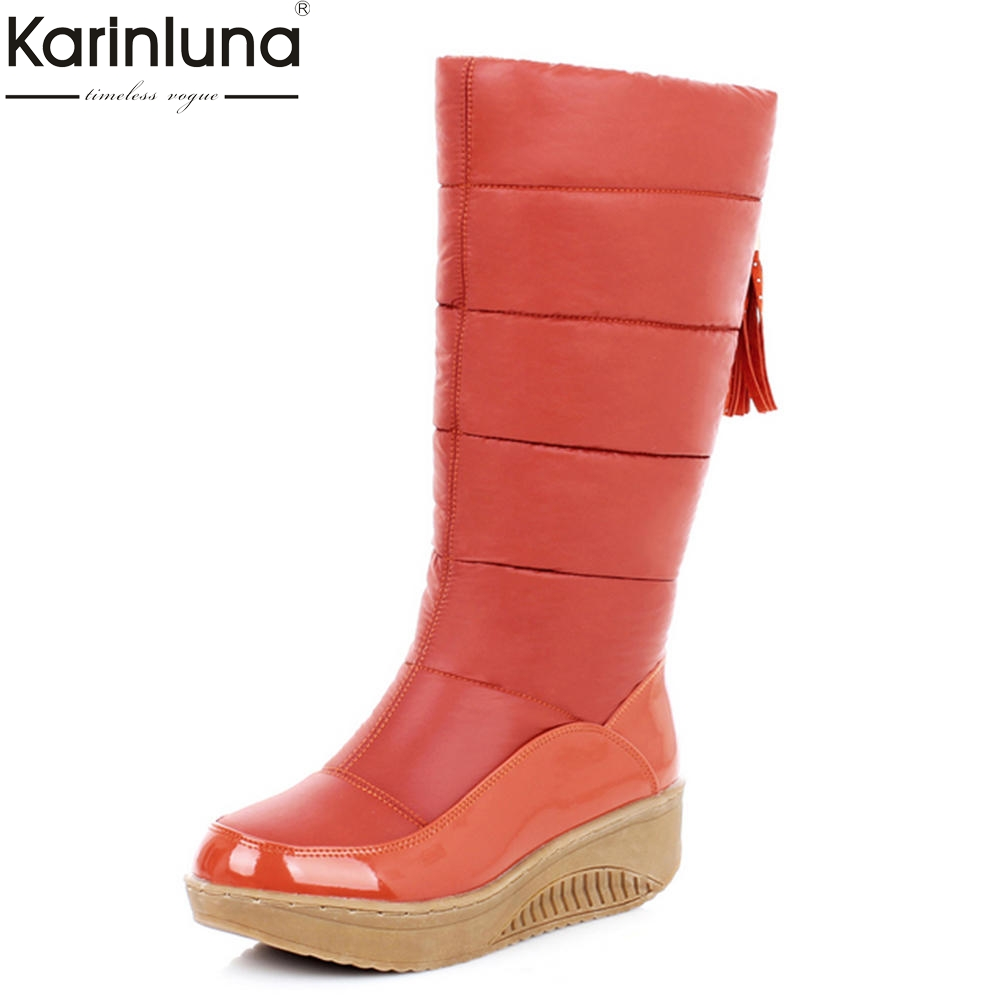 KarinLuna New Large Sizes 35-44 Fashion Warm Shoes Woman Casual Add Plush Mid Calf snow Boots Woman Winter Boots waterproof ekoak new 2017 winter boots fashion women boots warm plush mid calf boots ladies platform shoes woman rubber leather snow boots