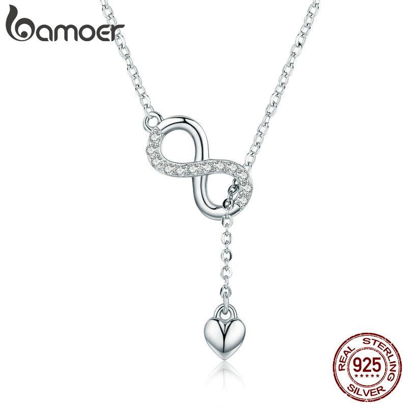 25ee7024cc59 BAMOER Venta caliente 100% de 925 de plata esterlina infinito para siempre  amor cadena colgante collares para las mujeres de la joyería de la plata ...